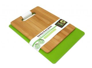 Solid Green 2pc Bamboo Eco Plastic Cutting Board Set