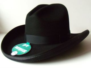 BAILEY RENEGADE COLLECTION BLACK WESTERN GUS CROWN HAT SIZE 7 1 8