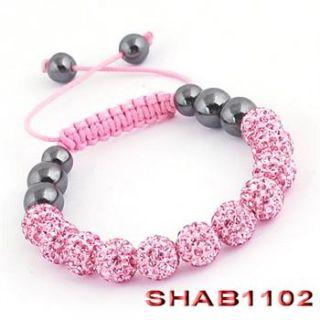 11pcs CZ Crystal Bead Sham Balla Friendship Charms Bracelet