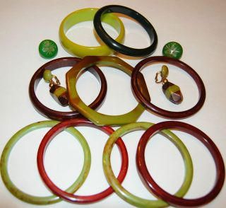 Vintage Lot of 9 Bakelite Bracelets Bangles and Earrings Pea Green and