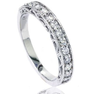 Diamond Antique Filigree Wedding Ring Band Milgrain 14K White Gold
