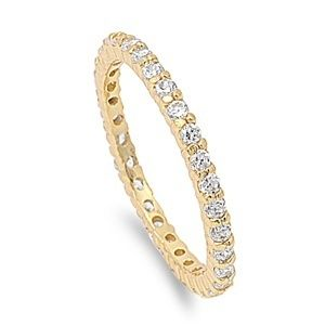 Silver Eternity Rings Anniversary Band Yellow Gold Plated Clear Sz 5 6