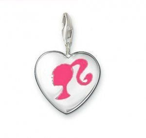SILVER clip on charm HEART BARBIE PINK lobster clasp BRACELET CHARM
