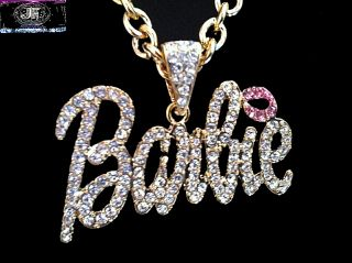 Nicki Minaj 2 Barbie Iced Out Necklace Gold Clear