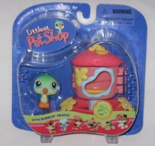 New Littlest Pet Shop Green Bird w Feeder