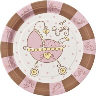 Baby Shower Pink and Brown Girl Carriage Dinner Plates