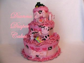 Pink John Deere Baby Diaper Cake Girls Baby shower Gift or Centerpiece