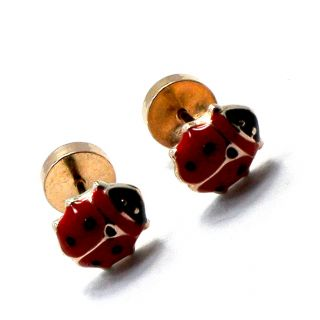 Red Enamel Ladybug Earrings 5mm Baby Girl Safety Security Stud