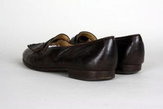 Vintage Bally Chocolate Brown Leather Tassel Loafer Shoes 11 D Italy