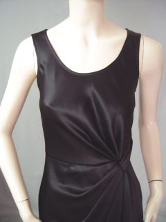 NWT ST JOHN CAVIAR LIQUID SATIN DRESS sz 2 KNOT DRAPE LINED IN SILK