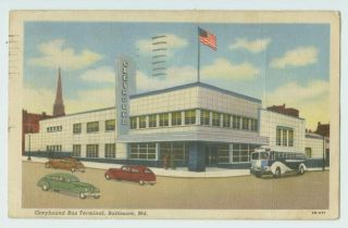 B0406 AUTOS @ GREYHOUND BUS DEPOT BALTIMORE MD 1943 POSTCARD