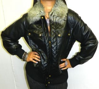 BABY PHAT GOTH BLACK FAUX FUR BIKER / AVIATOR CHICK BOMBER COAT