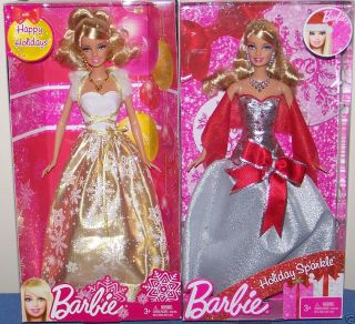 Mattel Holiday Sparkle Barbie dolls set of 2 ~ New in Box ~ Great Gift
