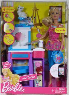BARBIE I CAN BE ART TEACHER Doll Playset Mattel NIP artist painter