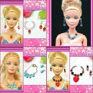 sets barbie doll jewelry lot handmade necklace earring for barbie