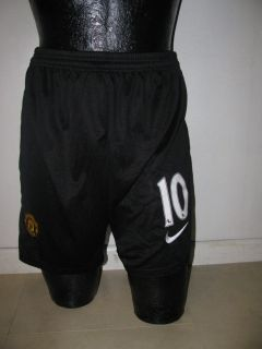 Manchester United Away Black Shorts Rooney 10 s M L XL Great Soccer