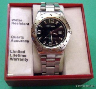 CC Hughes Stainless Steel Black Dial Quartz Watch New