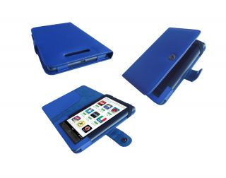 for Barnes Noble Nook Color 7 7 Inch Folio PU Leather Cover Case Blue