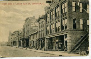 Barnesville Ohio Downtown Street Scene Vintage Postcard Stores Schlitz