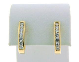 Beautiful 18K Yellow Gold Genuine vs Diamond Hoop Earrings