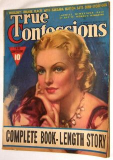 TRUE CONFESSIONS MAGAZINE BARBARA HUTTON AND DIME STORE GIRL OCT ISSUE