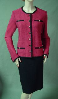 1790 St John Passion Knit Skirt Suit Sz 16 Black Trim 17 Gold Blk