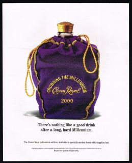 1999 Seagram Crown Royal Canadian Whisky Millennium Bag Magazine Print