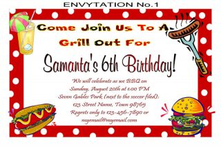 BBQ Picnic Personalized Birthday Party Invitations