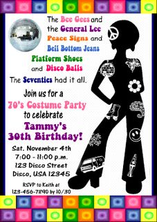 70s Disco Party Invitations Party Supplies 8ct