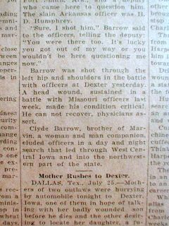 Newspaper Bonnie Clyde Barrow Shootout w Police Dexter Iowa