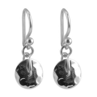 BARSE Sterling Silver 925 Hammered Circle Shield Dangle Charm Earrings