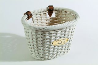Nantucket Bike Basket Cliff oval willow wicker basket is painted white