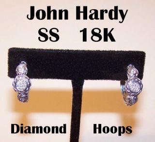 JOHN HARDY Sterling Silver/18K Gold & DIAMOND Hoop Earrings