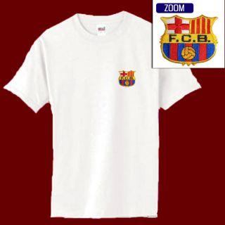 Barcelona Football Soccer Patch Shirt Wht s XL 14 99
