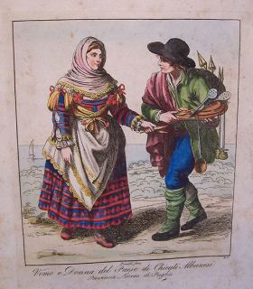 Circa 1816 Bartolomeo Pinelli Costume Engraving Hand Colored Albanian
