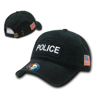 BLACK POLICE OFFICER COPS BASEBALL CAP HAT HATS US FLAG