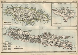 This color map of Jamaica; Java & Bali was included in Encylopaedia