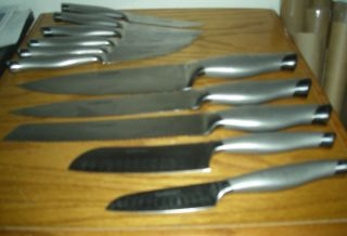 11 Piece Cuisinart Stainless Steel Knife Set 2 Santoku , Chefs