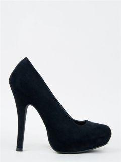 Classic Faux Suede High Heel Basic Party Pump Black PRECIOUS01