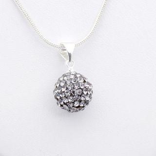 Grey Ball Swarovski Crystal Pendant Silver Necklace 60