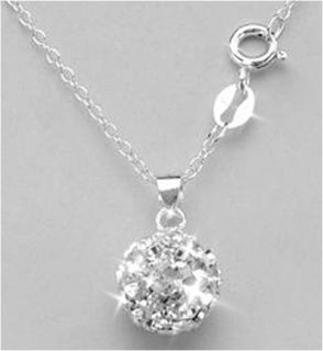 10mm Crystal Ball Pendant Necklace 14k White Gold over 925 Silver 18