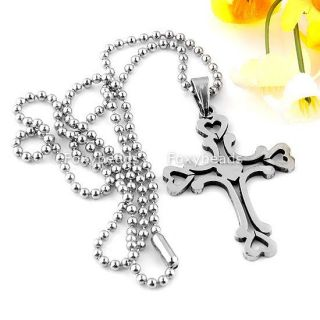 Stainless Steel Heart Cross Pendant Ball Chain Necklace 19L