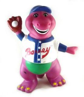 Vintage Barney PVC Figurine Baseball Player 5 Mitt Cap Ball Sports