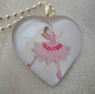 Ballet Dancer Ballerina Pink Tutu Dance Heart Shaped Glass Pendant Art