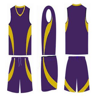 10 ADULT BASKETBALL UNIFORM SETS (jersey shorts) IN PURPLE AND GOLD