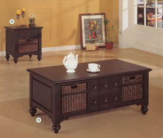 Black Storage Coffee End Table Set Baskets Living Room