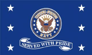 x5 US Navy Served with Pride Flag Outdoor Indoor Banner Military