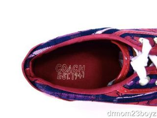 Coach Barrett Signature Poppy Pink & Purple Plaid Sneaker 8.5