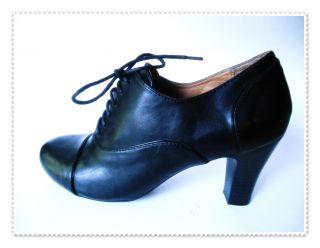 NWOB Black Croft Barrow Granny Oxfords with 3 Heels Cap Toes Size 8 M