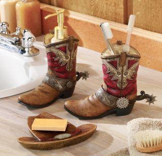 Western Bathroom Decor Cowboy Boots Hat Bath Accessories Set